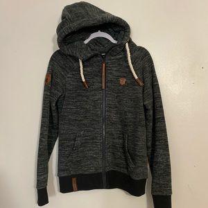 Dark grey hoodie.